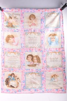 Baby Blanket Quilt Girl's Prayer Christian Religious Pink Balloons Vintage Hand Made  The Pink Room  170203 by ThePinkRoom