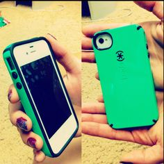 White iPhone 4S and Green Speck case =)