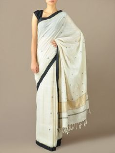Ecru-Gold Jamdani Khadi Cotton Saree