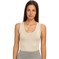 M Missoni Lurex Scallop Knit Tank (Ivory) Women's Sleeveless ($158) ❤ liked on Polyvore featuring tops, white, metallic tank top, white singlet, white knit tank top, knit tank top and sleeveless tank tops