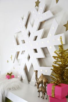 DIY Giant snowflake marquee..
