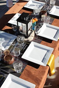 Faux Suede full lenght table linen with Bohemian Stripe Runner and Citron Lamour Napkins by Kari Addison Styling