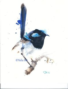 Original watercolor painting bird portrait blue by YuliaSheArt