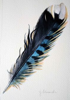 Feather Blue Jay Feather ~ Original Watercolour by jodyvanB Feather Arrow Tattoo, Jay Feather, Feather Art, Feather Tattoos, Art Tattoos, Watercolor Feather, Feather Painting, Colorful Feathers, Bird Feathers