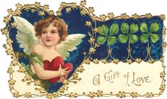 Ellen Clapsaddle Cherub Gift Of Love - It is a die cut card, slightly smaller than regular postcards, with no printing on the back.