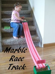 Pool noodle cut in half = Marble Racetrack... so clever and easy to do!  Why didn't I think of that?