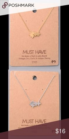 Dainty Puzzle Pendant Necklace Available in Gold  and Silver. Jewelry Necklaces