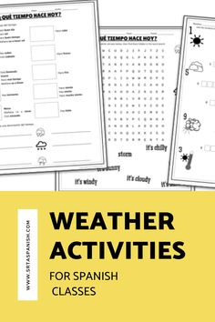 Are you looking for weather activities for your Spanish classes? Check out these lesson plans and ideas for your novice middle or high school Spanish classes! Check out these easy activities, speaking, listening, writing practices, and reading activities for ideas on how to teach el tiempo or weather vocabulary in Spanish class! Weather Activities, Class Activities, Reading Activities, Spanish Lesson Plans, Spanish Lessons, Spanish Classroom, Teaching Spanish, Weather Vocabulary, Middle School Spanish
