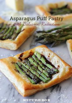 Asparagus Puff Pastry with Balsamic Reduction~T~ This is quick and easy. Puff pastry cut into 4 inch squares and topped with shredded Gruyere and Grated Parmesan then covered with asparagus spears. Drizzle with olive oil and sprinkle with salt and pepper. Bake and then drizzle with the Balsamic reduction. Serve while hot. Makes a lovely presentation and yummy.