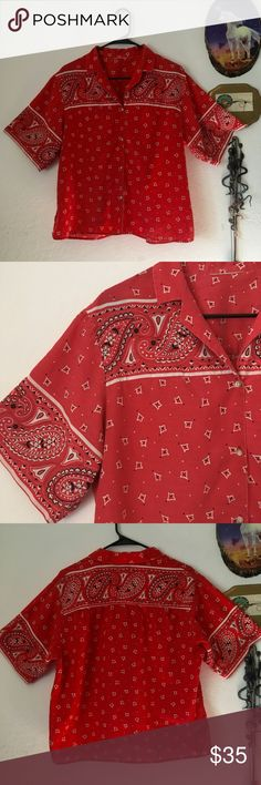 🆕Vintage oversize button up handkerchief top Awesome oversize vintage handkerchief button up shirt. Paisley handkerchief print on front, back and sleeves in a classic red. Light cotton fabric is perfect for the warmer months. Would look great tied at the front or tucked in to some high waisted shorts! The perfect look for the aspiring country girl! Good vintage condition, with slight fading to fabric in some areas. No size tag, oversize fit would work best for S-L depending on desired fit…