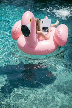 Everybody needs a pink Flamingo Pool Float.   #pool #pink