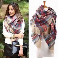 Women Winter Blanket Oversized Tartan Scarf Wrap Shawl Plaid Cozy Checked Beige