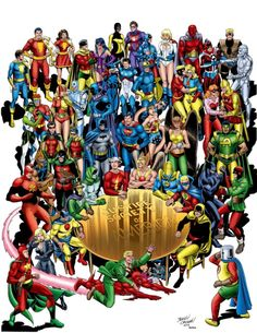 Original Comic Art titled Jerry Ordway Justice Society (JSA) and Infinity Inc Colored!, located in John's Original Art Comic Art Gallery Marvel Dc Comics, Dc Comics Heroes, Dc Comics Characters, Dc Comics Art, Comic Superheroes, Superhero Characters, Fantasy Characters, Comic Book Artists, Comic Books Art
