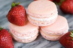Strawberry Macarons (with just one o, the sublime french confection).  After having one at the Sweet Tooth Fairy yesterday, I am definitely going to attempt it!