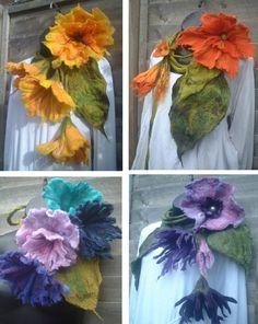 felted wool scarf necklace flower, felt, jewellery, jewelry, art to wear, lariat, bespoke,  MADE TO ORDER lagenlook,  custom order, orange. £65.00, via Etsy.