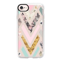 Modern pink green marble geometric zigzag chevron - iPhone 7 Case And... (50 AUD) ❤ liked on Polyvore featuring accessories, tech accessories, iphone case, iphone cases, clear iphone case, marble iphone case, pink iphone case and iphone cover case