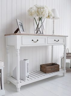 The Provence white console table with shelf and drawers. Click to return to product page to buy