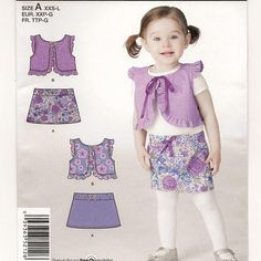 Simplicity 2126, An Easy Sew A-Line Skirt and Ruffled, Tie-Close Vest Pattern by So Sew Some!