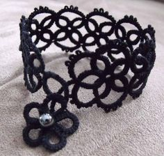 Black Tatted Bracelet with Flower Clasp