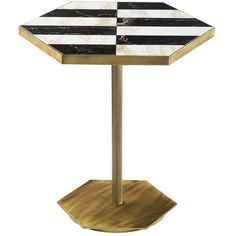 Marioni Home Ted Marble Inlay Accent Table (236.710 RUB) ❤ liked on Polyvore featuring home, furniture, tables, accent tables, marble table, marble top accent table, marble inlay table, black table and onyx table