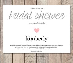 Pin and save: Pin this link and use code THANKS4PINNING to save 10% on your purchase!  https://www.etsy.com/listing/200763829/simple-heart-bridal-shower-invitation?ref=shop_home_active_8