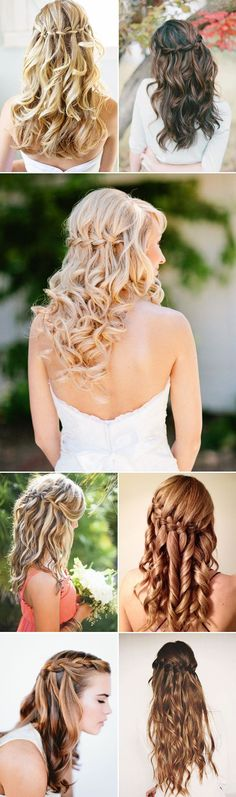 Waterfall Braids Half up Half Down Wedding Hairstyles