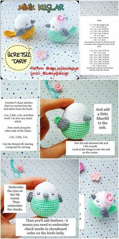Amigurumi Little Birds Free Crochet Pattern Crochet.plus Amigurumi B . : Amigurumi Little Birds Free Crochet Pattern Crochet.plus Amigurumi B . Bunny Crochet, Crochet Birds, Cute Crochet, Crochet Crafts, Crochet Dolls, Crochet Projects, Diy Crafts, Crochet Animals, Crochet Ideas