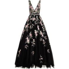 Jovani Embroidered Flower Motif Gown (€1.565) ❤ liked on Polyvore featuring dresses, gowns, v neck gown, plunging v neck dress, embellished gown, v neck dress and flower embroidered dress
