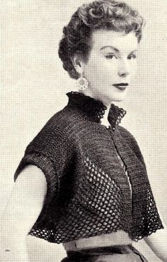 A fusion of old and new vintage crochet patterns Vintage crochet shrug vintage crochet bolero shortie jacket cape pattern FBJXCNM Vintage Crochet Dresses, Vintage Crochet Patterns, Vintage Knitting, Lace Patterns, Knitting Patterns, Crochet Jacket, Crochet Shawl, Knit Crochet, Crop Top Jacket