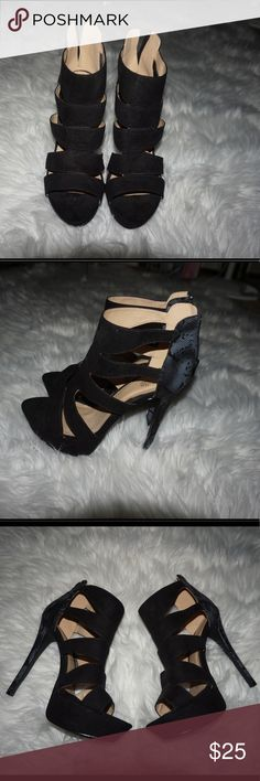 Black caged sandal heels Black caged heels with a lace like detail on the back Charlotte Russe Shoes Heels