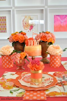 """May Flowers"" Coral Mother's Day Tablescape and Ombre cake by House of Creative Designs."