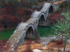 Ancient, Three Arches Bridge, Zagorochoria, Greece