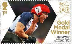Paralympics Gold Medal Winner stamp - Athletics: Tack Men's 800m, T54, David Weir.