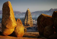 Hampi: For backpackers and rock-climbers. Visit the iconic Hampi Bazaar with its Virupaaksha Temple and the waterfalls nearby. See the Hanuman Temple and Vittala temple. Go rock-climbing in this undisputed bouldering capital of India. Beautiful Ruins, Beautiful Places In The World, Wonderful Places, Maldives, Sri Lanka, Hampi India, Karnataka, Temple, Royal Pavilion
