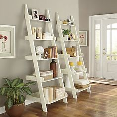 Ladder Bookcase In Living Room Beautiful Ladder Shelf From Through the Country Door Book Photo Ladder Shelf Decor, Ladder Bookcase, White Ladder Shelf, Shelving Decor, Ladder Storage, Book Storage, Bookshelf Door, Ladder Display, Storage Shelves