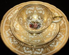 4:00 Tea...Aynsley...Exquisite Gold Gilt Trio with Floral Center