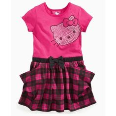 Toddler Girl Clothes at Macy& - Little Girls Clothes and To . Kids Outfits Girls, Toddler Girl Outfits, Kids Girls, Little Girls, Girls Dresses, Toddler Girls, Hello Kitty Clothes, Hello Kitty Dress, Dress Images