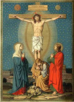 kneeling at foot of cross