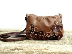 Brown Leather Bag Cross Body Purse Messenger Tiny by EightSeasons, $79.00
