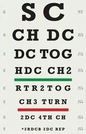 Crochet eye test chart...lol