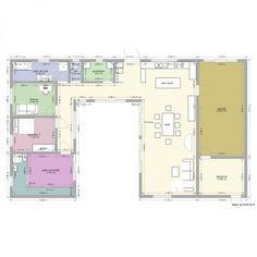 MAISON EN U PISCINE. Plan de 10 pièces et 181 m2