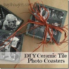DIY Ceramic Tile Photo Coasters make a lovely homemade gift! TrishSutton.com