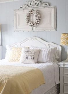 Vintage Bedroom Yellow Pops in this Vintage Modern Bedroom - Rustic chic bedroom decor and design ideas for a vintage yet modern makeover. Find the best designs for your home and transform your bedroom! Spring Bedroom, Chic Bedroom Design, Urban Chic Bedrooms, Rustic Chic Bedroom, Modern Bedroom, Chic Bedroom Decor, Remodel Bedroom, Shabby Chic Bedrooms, Shabby Chic Room