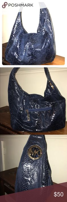 Blue Snakeskin designer bag Gently used smoke free home price reflect authenticity Michael Kors Bags Shoulder Bags
