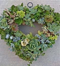 13 Succulent Heartshape Wreath by Succulentsplus on Etsy