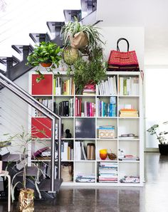 Hanging plants will often neutralise such a busy zone as this. This is a great example of this effect.