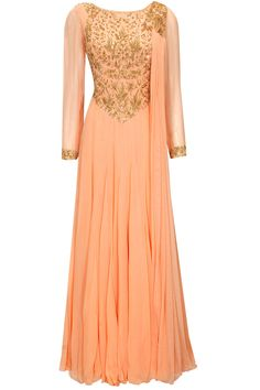 Malasa presents Peach embroidered anarkali set with attached dupatta available only at Pernia's Pop-Up Shop. Punjabi Fashion, India Fashion, Bollywood Fashion, London Fashion, Red Lehenga, Lehenga Choli, Anarkali, Saree, Western Dresses