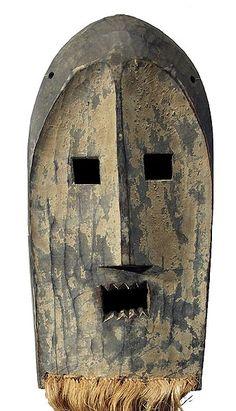 Kumu Mask 2, Democratic Republic of the Congo. Photographed by Tim Hamill. 16-36 x 8 in. Raffia beard. via Hamill gallery