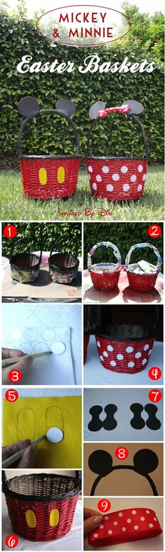 Make a Minnie Mouse or Mickey Mouse Easter Basket These Easter basket ideas will bring joy to any kid who's excited for the Easter egg hunt! Make these Easter basket ideas your next project with your kids. Hoppy Easter, Easter Gift, Easter Crafts, Holiday Crafts, Holiday Fun, Easter Eggs, Easter Bunny, Cadeau Disney, Homemade Easter Baskets