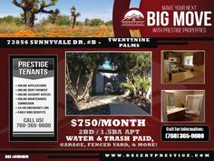 #ForLease - Available to view late March!  73856 Sunnyvale Dr. #B Twentynine Palms, CA 92277  $750/month* This 2 bedroom, 1.5 bathroom apartment comes with water and trash paid, close to base, includes all kitchen appliances, one car garage, on site laundry and more!   🏘 PRESTIGE PROPERTIES - DESERT CITIES Lic. # 01954678 ☎️ 760.365.9600 🌎 DesertPrestige.com   #PrestigeProperties #TeamPrestige #PropertyManagement #Properties#Rentals #Realtor #RealEstateAgent #RealEstate…